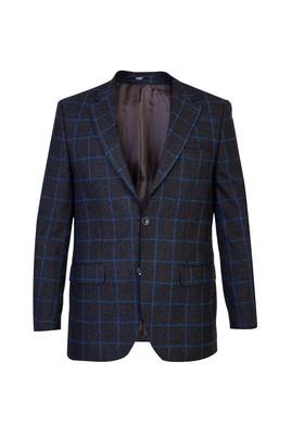 Erkek Giyim - KOYU KAHVE 48 Beden Regular Fit Kareli Ceket