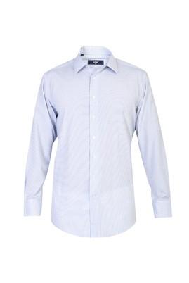 Erkek Giyim - Mavi XXL Beden Uzun Kol Desenli Gömlek