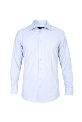 Erkek Giyim - Açık Mavi XL Beden Uzun Kol Desenli Gömlek