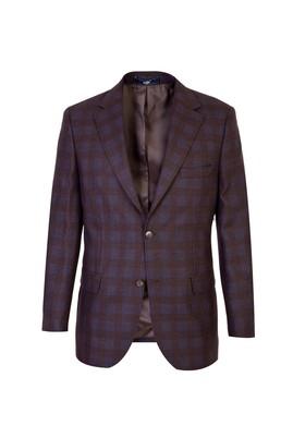 Erkek Giyim - KOYU KAHVE 54 Beden Yünlü Ekose Ceket