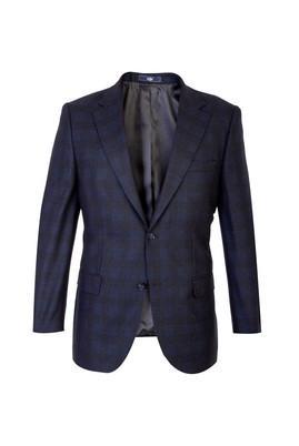 Erkek Giyim - Siyah 56 Beden Yünlü Ekose Ceket