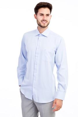 Erkek Giyim - Açık Mavi L Beden Uzun Kol Desenli Klasik Gömlek