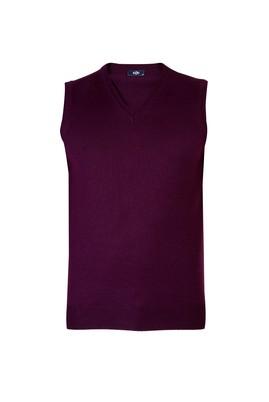 Erkek Giyim - Kırmızı L Beden V Yaka Yünlü Süveter