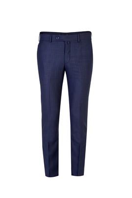 Erkek Giyim - KOYU MAVİ 48 Beden Slim Fit Klasik Ekose Pantolon