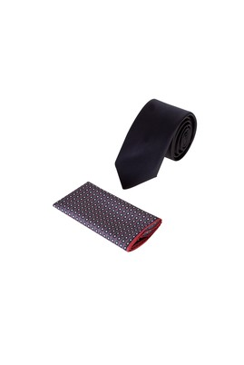 Erkek Giyim - Siyah 60 Beden 2'li Kravat Mendil Set