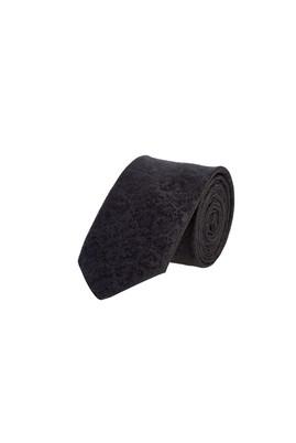 Erkek Giyim - Siyah 65 Beden İnce Desenli Kravat