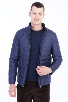 Erkek Giyim - Lacivert L Beden Slim Fit Kapitone Mont