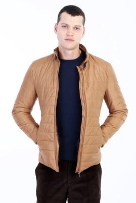 Erkek Giyim - Açık Kahve - Camel S Beden Slim Fit Kapitone Mont