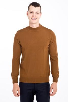 Erkek Giyim - Açık Kahve - Camel M Beden Bato Yaka Regular Fit Triko Kazak