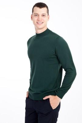 Erkek Giyim - Acık Yesıl L Beden Bato Yaka Regular Fit Triko Kazak