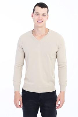 Erkek Giyim - Bej 3X Beden V Yaka Regular Fit Triko Kazak