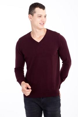 Erkek Giyim - Kırmızı L Beden V Yaka Regular Fit Triko Kazak