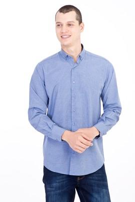 Erkek Giyim - Lacivert L Beden Uzun Kol Kareli Gömlek