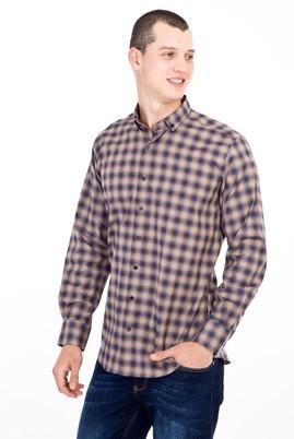 Erkek Giyim - Kahve 3X Beden Uzun Kol Ekose Gömlek