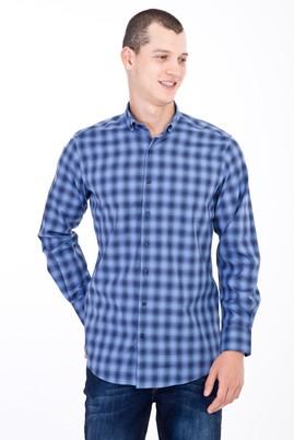 Erkek Giyim - Mavi 3X Beden Uzun Kol Ekose Gömlek