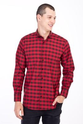 Erkek Giyim - Kırmızı S Beden Uzun Kol Ekose Gömlek