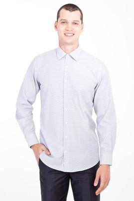 Erkek Giyim - Siyah S Beden Uzun Kol Klasik Desenli Gömlek