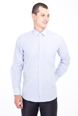 Erkek Giyim - Açık Mavi 3X Beden Uzun Kol Klasik Desenli Gömlek