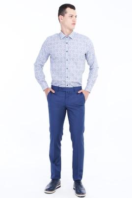 Erkek Giyim - PETROL 50 Beden Slim Fit Desenli Klasik Pantolon