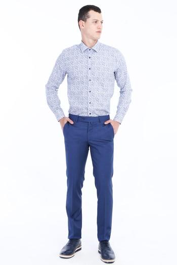 Erkek Giyim - Slim Fit Desenli Klasik Pantolon