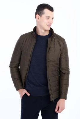Erkek Giyim - HAKİ L Beden Slim Fit Kapitone Mont