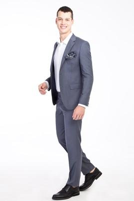 Erkek Giyim - ORTA FÜME 46 Beden Slim Fit Takım Elbise
