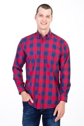 Erkek Giyim - KIRMIZI 3X Beden Uzun Kol Kareli Gömlek