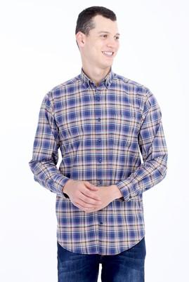 Erkek Giyim - LACİVERT 3X Beden Uzun Kol Ekose Gömlek