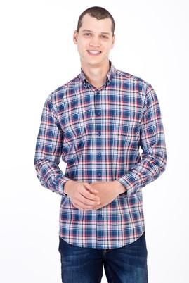 Erkek Giyim - LACİVERT XXL Beden Uzun Kol Ekose Gömlek