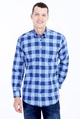 Erkek Giyim - MAVİ XXL Beden Uzun Kol Kareli Gömlek