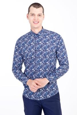 Erkek Giyim - LACİVERT L Beden Uzun Kol Küçük Yaka Slim Fit Desenli Gömlek
