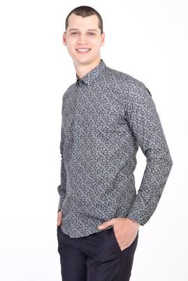 Erkek Giyim - KOYU YESİL L Beden Uzun Kol Küçük Yaka Slim Fit Desenli Pamuk Gömlek
