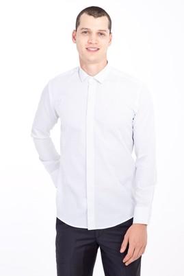 Erkek Giyim - BEYAZ L Beden Uzun Kol Küçük Yaka Slim Fit Desenli Gömlek