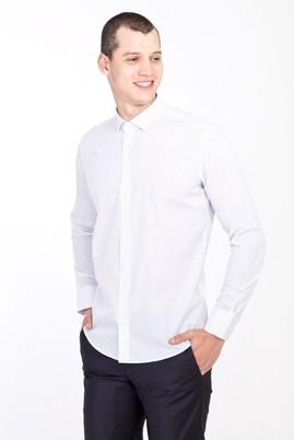 Erkek Giyim - BEYAZ XL Beden Uzun Kol Küçük Yaka Slim Fit Desenli Pamuk Gömlek