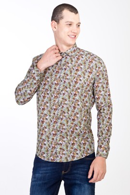 Erkek Giyim - ACIK YESIL XS Beden Uzun Kol Yarım İtalyan Yaka Slim Fit Desenli Pamuk Gömlek