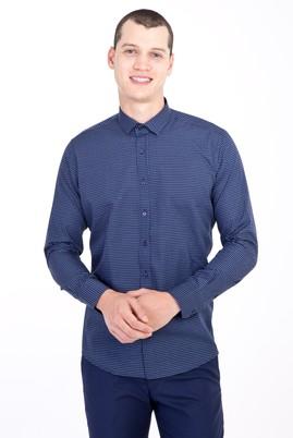 Erkek Giyim - LACİVERT XL Beden Uzun Kol Küçük Yaka Slim Fit Desenli Pamuk Gömlek
