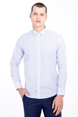Erkek Giyim - BEYAZ M Beden Uzun Kol Küçük Yaka Slim Fit Desenli Gömlek
