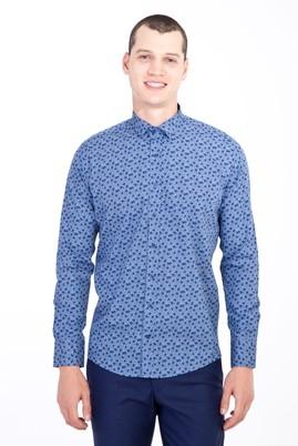 Erkek Giyim - LACİVERT XS Beden Uzun Kol Küçük Yaka Slim Fit Desenli Pamuk Gömlek