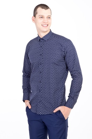Erkek Giyim - Uzun Kol Küçük Yaka Slim Fit Desenli Gömlek