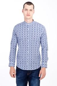 Erkek Giyim - Uzun Kol Hakim Yaka Slim Fit Desenli Gömlek