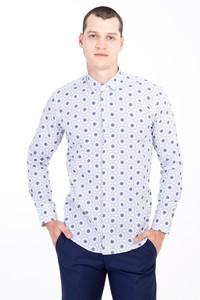 Erkek Giyim - Uzun Kol Alttan Brit Yaka Slim Fit Desenli Pamuk Gömlek