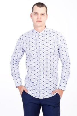Erkek Giyim - LACİVERT S Beden Uzun Kol Alttan Brit Yaka Slim Fit Desenli Pamuk Gömlek