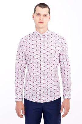 Erkek Giyim - BORDO XS Beden Uzun Kol Alttan Brit Yaka Slim Fit Desenli Pamuk Gömlek