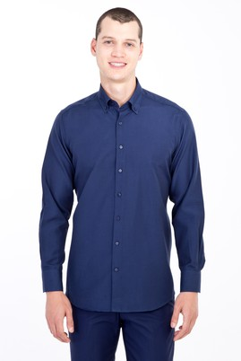 Erkek Giyim - LACİVERT L Beden Uzun Kol Desenli Gömlek