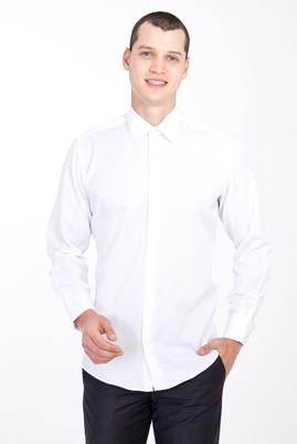Erkek Giyim - BEYAZ 3X Beden Uzun Kol Saten Gömlek