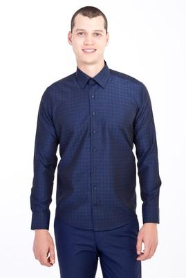 Erkek Giyim - LACİVERT XS Beden Uzun Kol Slim Fit Desenli Gömlek