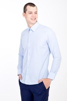 Erkek Giyim - AÇIK MAVİ XS Beden Uzun Kol Slim Fit Desenli Gömlek