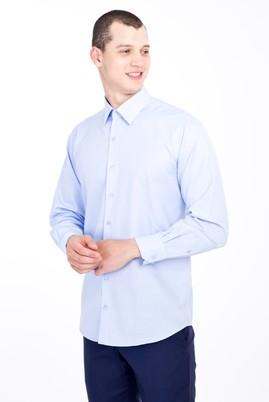 Erkek Giyim - AÇIK MAVİ 3X Beden Uzun Kol Saten Gömlek