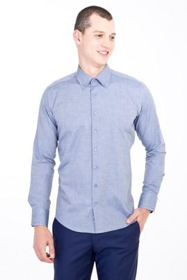 Erkek Giyim - LACİVERT L Beden Uzun Kol Düğmeli Yaka Slim Fit Desenli Gömlek