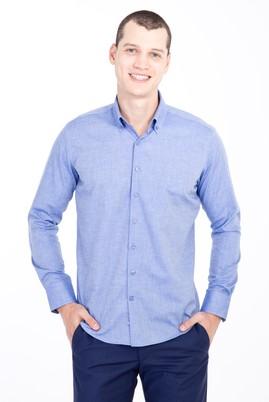 Erkek Giyim - MAVİ L Beden Uzun Kol Düğmeli Yaka Slim Fit Desenli Gömlek